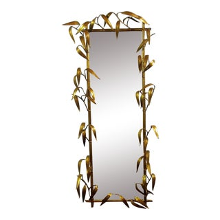Vintage Metal Bamboo Leaf Mirror
