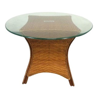 Contemporary Wicker & Glass Top Side Table