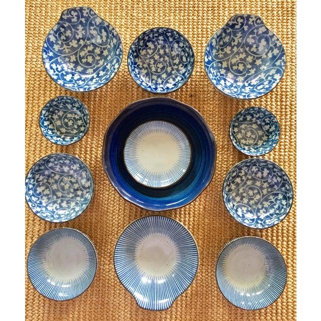 Japanese Blue & White Ceramic Bowls - Set of 10 - Image 2 of 10