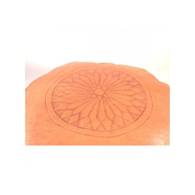 Image of Orange Moroccan Leather Pouf