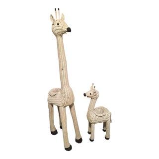 Vintage Wicker Giraffe Planters - A Pair