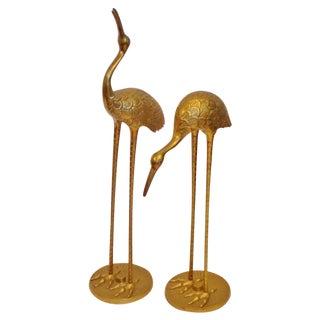 Vintage Brass Cranes - A Pair