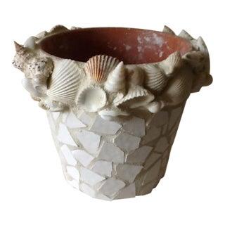 Handmade Beach House Mosaic Tile & Shell Plant Pot