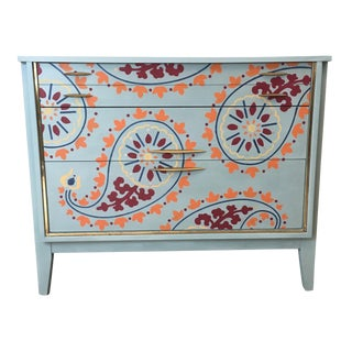 Vintage Chalk Painted Paisley Pattern Buffet