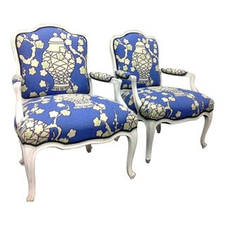 French Style Arm Blue Chairs in Chinoiserie Print