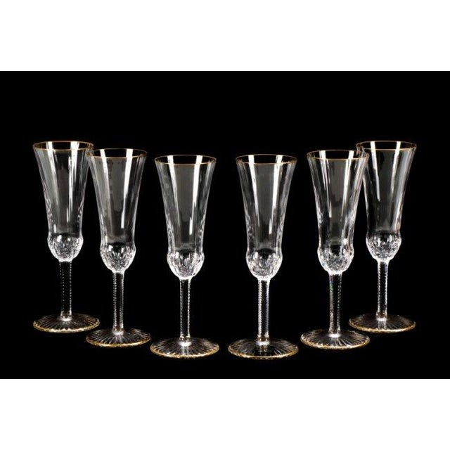 Image of St. Louis Gold Crystal Flutes - Set of 6