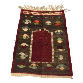 Vintage Turkish Tribal Angora Rug - 3′3″ × 4′5″