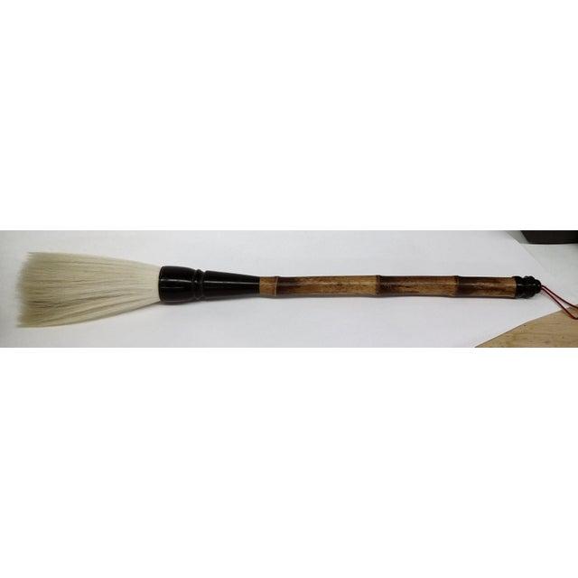 Vintage chinese bamboo bone handle natural hair