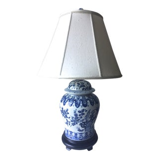 Chinese Blue & White Ginger Jar Lamp and Shade