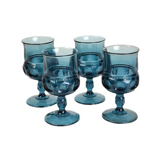 Peacock Blue Pressed Glass Goblets - Set of 4