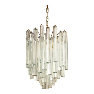 Lead and Crystal Chandelier with Triangular Prism by JT Kalmar