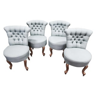 Petite Italian Tufted Chairs - Set of 4
