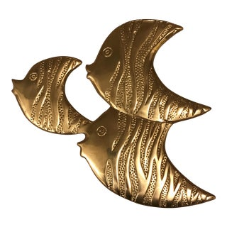 Mid-Century Brass Fish Wall Hanging