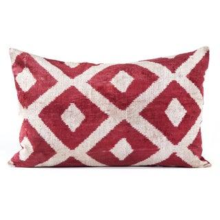 """Silk Velvet Red Ikat Pillow - 16"""" x 24"""""""