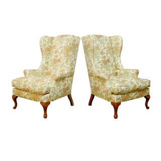 George II Style Brocade Wingback Chairs - A Pair