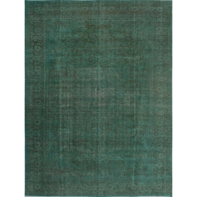 """Green Vintage Persian Overdyed Rug - 9'5"""" X 12'8"""" - Image 1 of 2"""