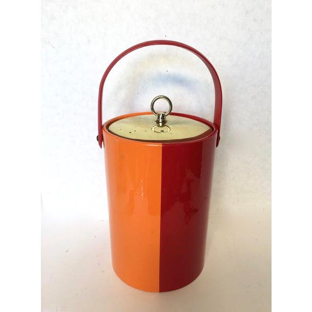 Mid-Century Red & Orange Striped Vinyl Ice Bucket - Image 2 of 6