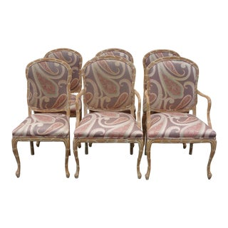 Vintage Hand-Carved Dining Chairs - S/6