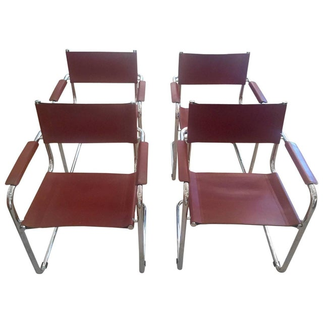 Cognac Leather and Chrome Armchairs - Set of 4 - Image 1 of 7