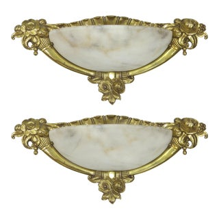 French Art Deco Bronze & Alabaster Sconces- A Pair