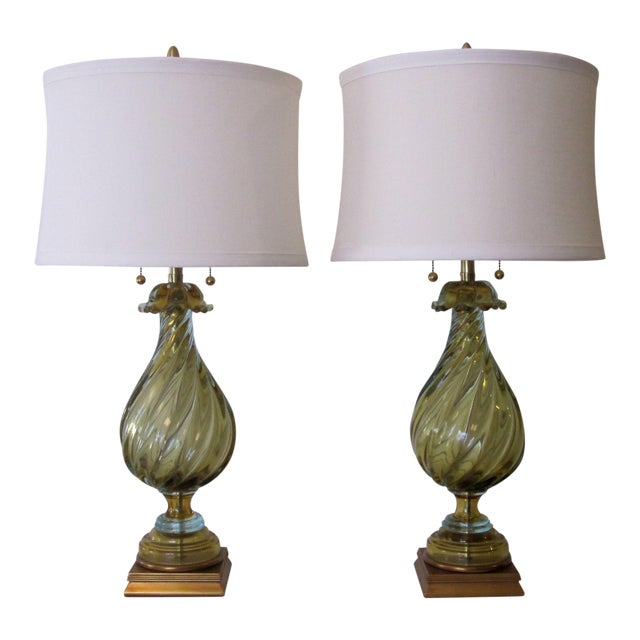 Image of Murano Glass Lamps by Seguso for Marbro - A Pair