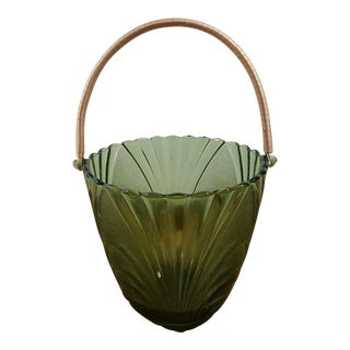 Brockway Green Glass Basket with Wooden Handle
