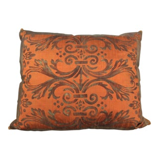 Isabelle H. Fortuny Style Hand-Painted Amaretto & Gold Pillow