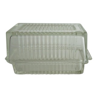 Vintage Ribbed Clear Glass Butter Dish