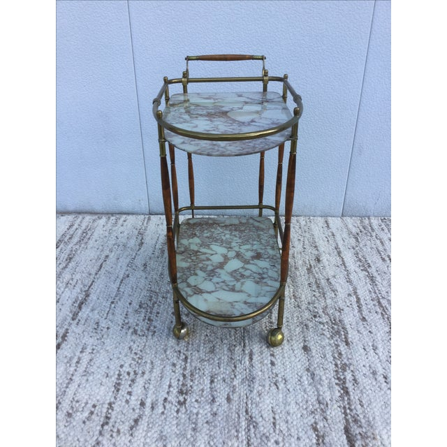 1950s Italian Brass & Walnut Bar Cart - Image 7 of 11