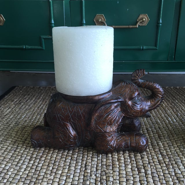 Large Elephant Trunks Up Pillar Candle Holders/Planter Stands - Set of 2 - Image 11 of 11