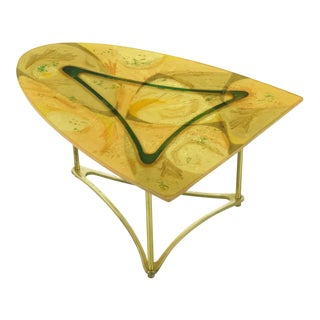 Demi-Ellipse Abstract Cast Resin & Brass Cocktail Table