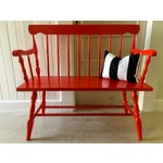 Image of Red Painted Vintage Wood Bench