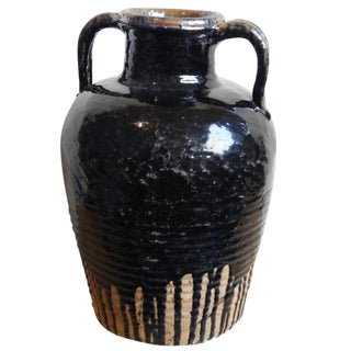 Distressed Black Ceramic Wine Jug