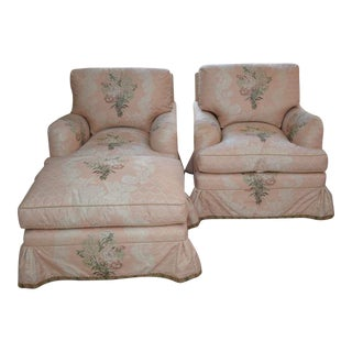 Custom Pink Silk Scalamandre Fabric Club Chairs & Ottoman - Set of 3