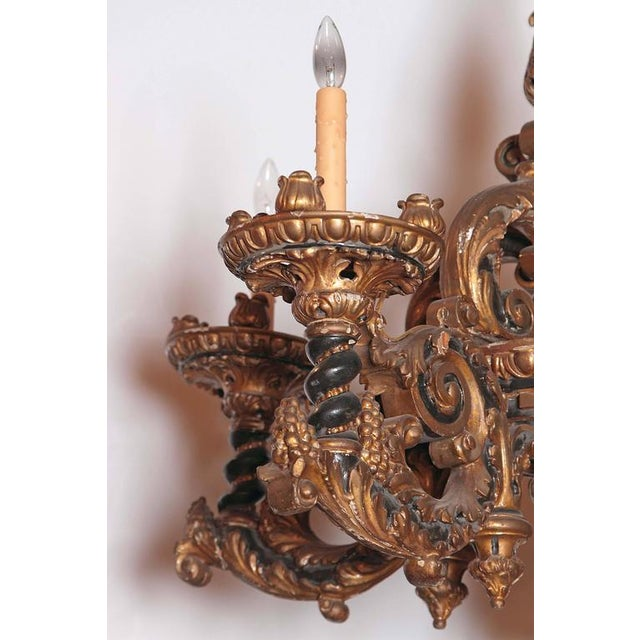 Italian Carved Wood Chandelier - Image 4 of 9