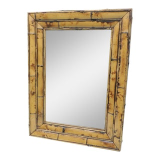 Vintage Rectangular Wood and Bamboo Mirror