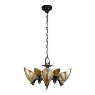 5 Light Art Deco 'Bat Wing' Fixture