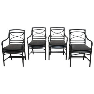Set of Four McGuire Style Black Lacquer Bamboo Armchairs