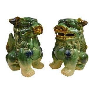 Oversized Hand Glazed Majolica Style Foo Dogs