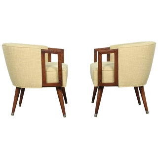 Mid-Century Yellow Vintage Arm Chairs - A Pair