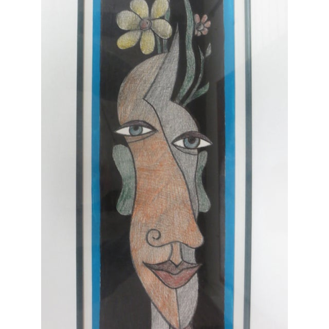 """Image of Abstract Portrait Drawing, Signed """"Temed '98"""""""