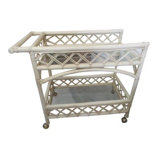 Ficks Reed Two-Tier Rattan Bar Cart