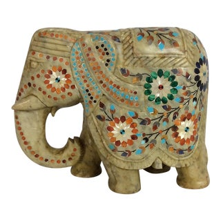 Carved Marble Elephant With Inlaid Precocious Stone