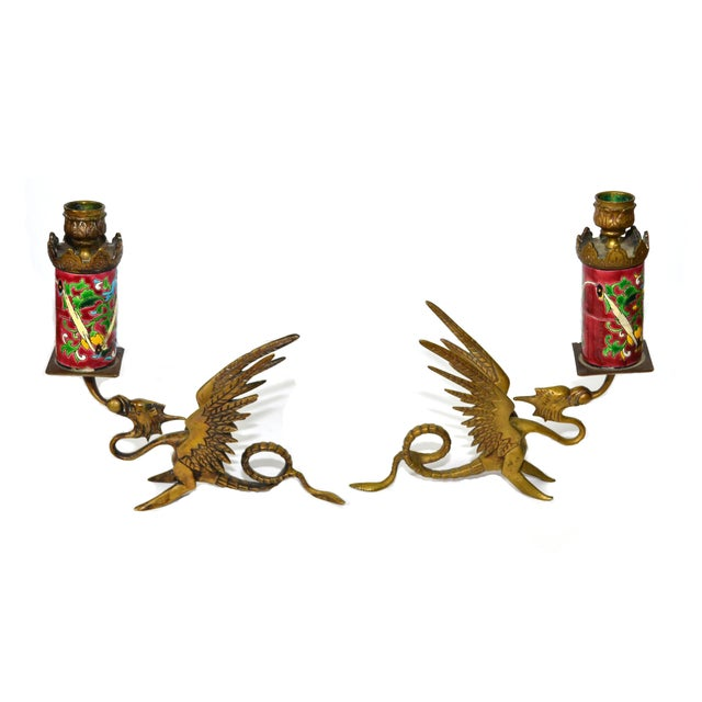Antique Longwy Gryphon Candlesticks - A Pair - Image 4 of 7