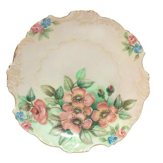 Selesia Germany Hand Painted Porcelain Floral Cabinet Plate