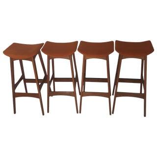 Johannes Andersen Teak Bar Stools - Set of 4
