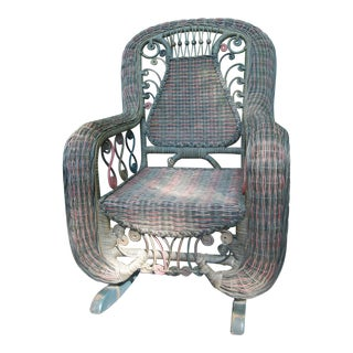 Beaded Green & Red Woven Wicker Rocker