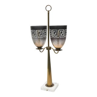 American Modern Brass, Glass and Marble Lamp, Style of Tommi Parzinger