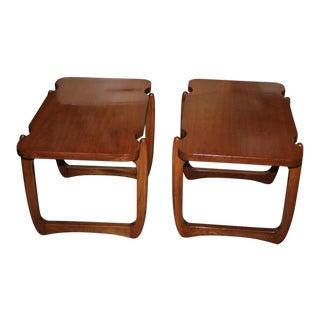 Mid-Century Walnut Side Tables - A Pair
