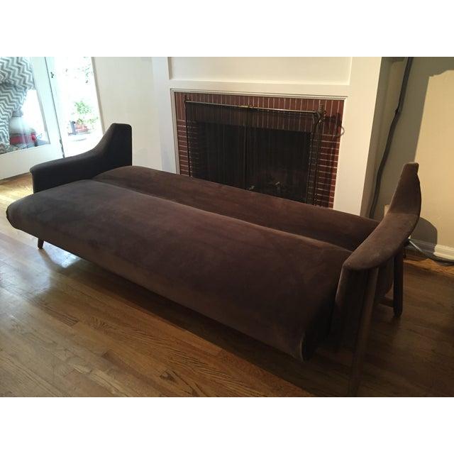 Mid-Century Modern Brown Velvet Sofa Bed - Image 3 of 6